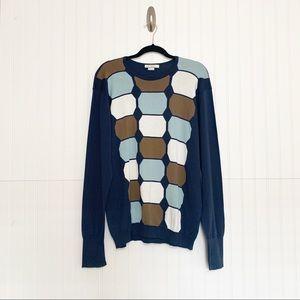 John Smedley XL Geometric Print Pullover Sweater